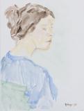 Portrait seitlich mit grüner Stuhllehne
