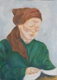 Portrait mit Kopftuch lesend