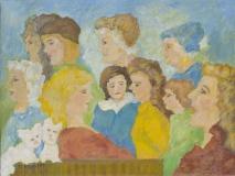 Damengruppe mit zwei Hündchen