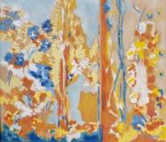 Abstrakt blau rot gelb ocker