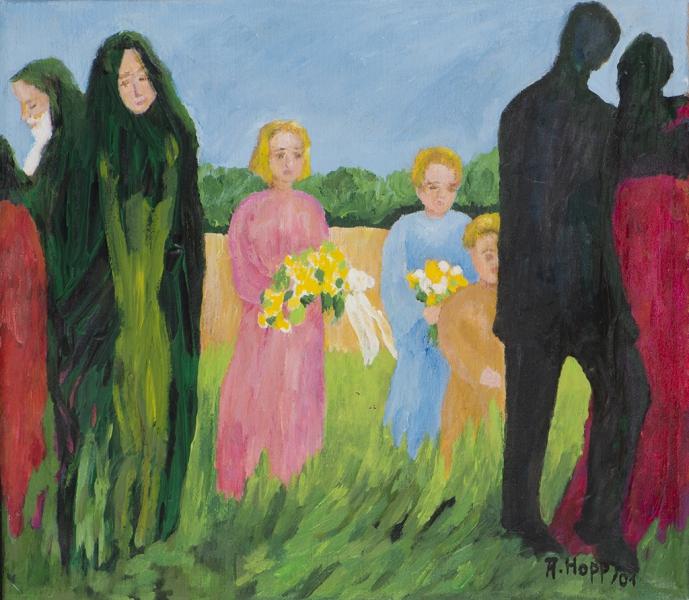 Zwei Paare - jung und alt mit drei Kindern