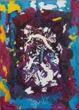 Abstrakt blau rot gelb weiss