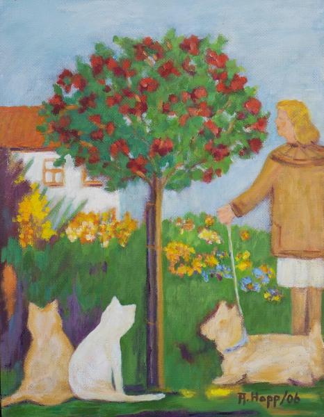 Rosenstock mit Katze und Hund
